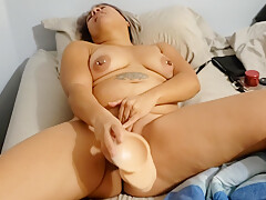 Latina Hotwife Shows And Tells Husband How Other Guys Fuck Her With Monster Dildo